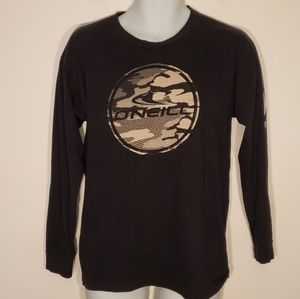 O'Neill Long Sleeve Black T-Shirt Men's Camo Logo.